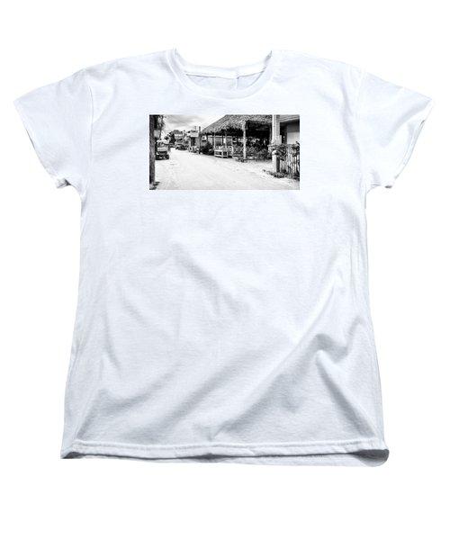 Street Scene On Caye Caulker Women's T-Shirt (Standard Cut) by Lawrence Burry