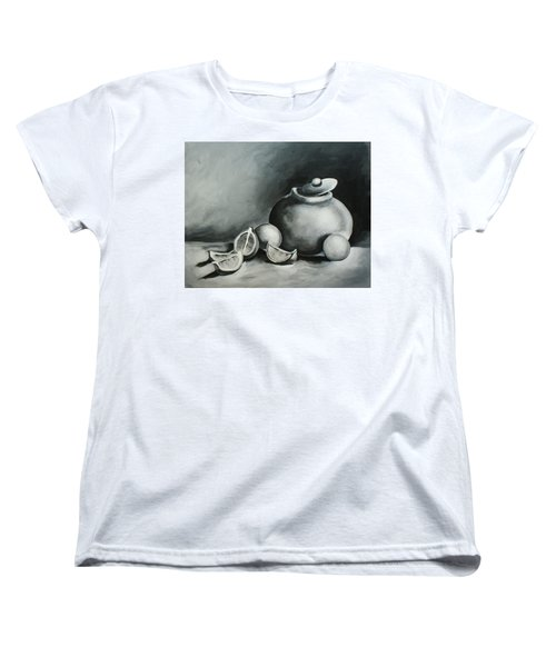 Study Of Lemons, Oranges And Covered Jug In Black And White Women's T-Shirt (Standard Cut)