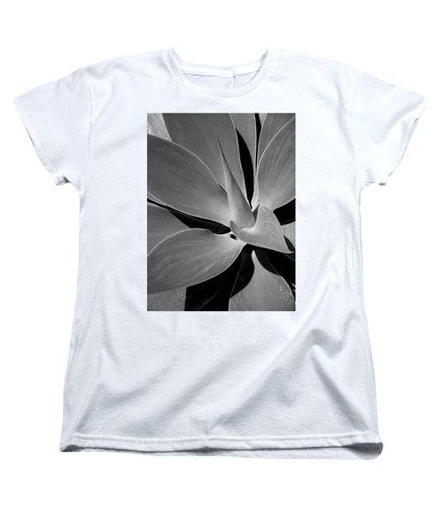 Succulent In Black And White Women's T-Shirt (Standard Cut) by Karen Nicholson