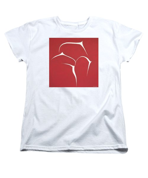 Women's T-Shirt (Standard Cut) featuring the painting Succulent In Red by Ben Gertsberg