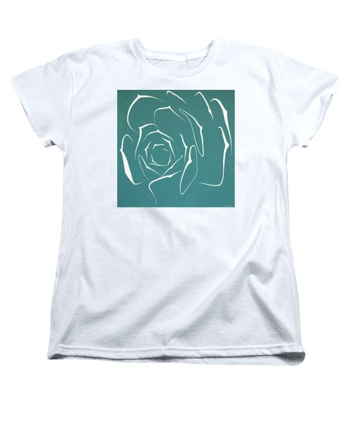Women's T-Shirt (Standard Cut) featuring the painting Succulent In Turquoise by Ben Gertsberg