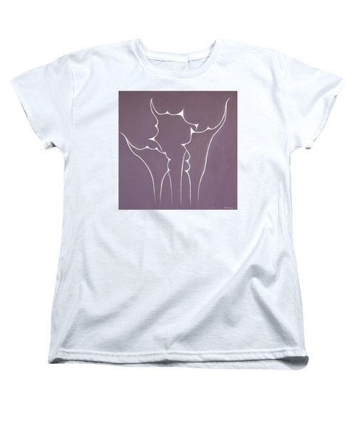 Women's T-Shirt (Standard Cut) featuring the painting Succulent In Violet by Ben Gertsberg