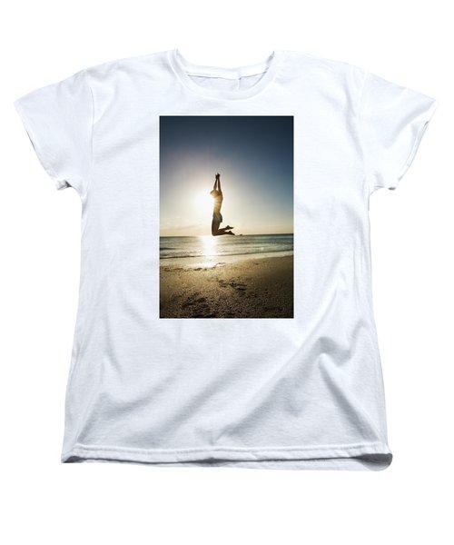 Summer Girl Summer Jump  Women's T-Shirt (Standard Cut) by Amyn Nasser