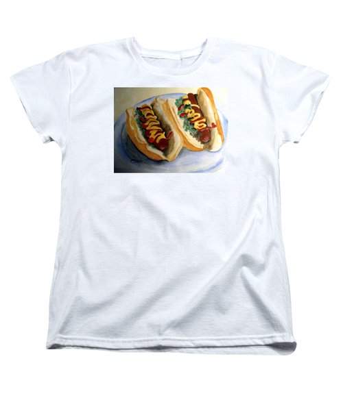 Women's T-Shirt (Standard Cut) featuring the painting Summer Hot Dogs by Carol Grimes