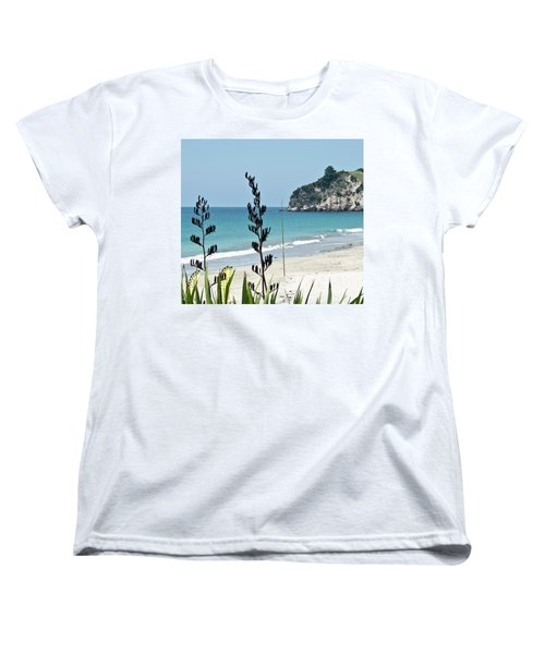 Women's T-Shirt (Standard Cut) featuring the photograph Summer New Zealand Beach by Yurix Sardinelly