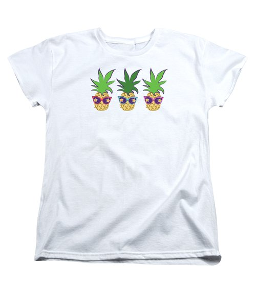 Summer Pineapples Wearing Retro Sunglasses Women's T-Shirt (Standard Cut) by MM Anderson