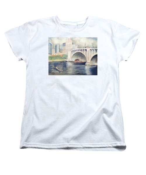 Women's T-Shirt (Standard Cut) featuring the painting Summer Rain by Marilyn Jacobson