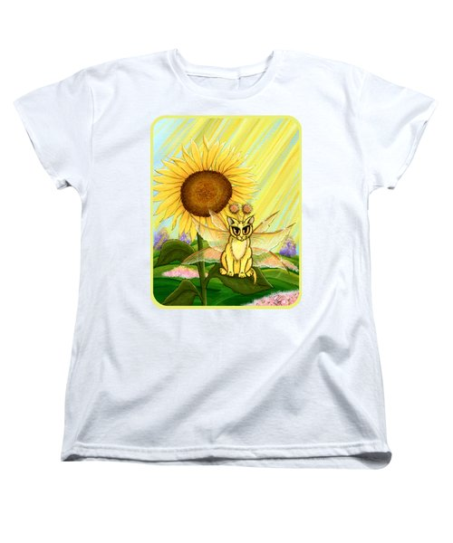 Women's T-Shirt (Standard Cut) featuring the painting Summer Sunshine Fairy Cat by Carrie Hawks
