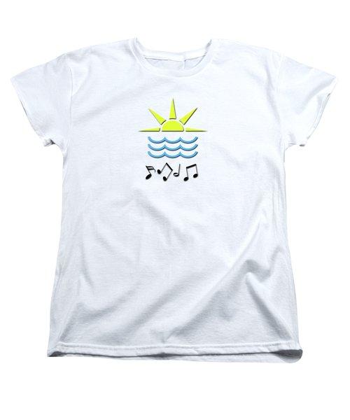 Women's T-Shirt (Standard Cut) featuring the digital art Sun, Sea And Music by Linda Prewer