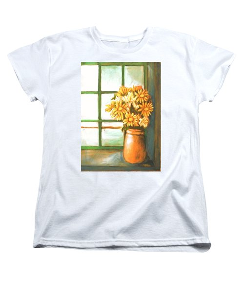 Women's T-Shirt (Standard Cut) featuring the painting Sunflowers In Window by Winsome Gunning