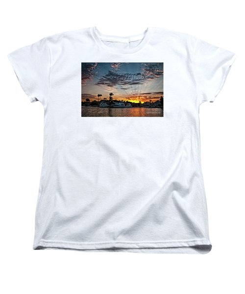 Sunrays Over Huntington Harbour Women's T-Shirt (Standard Cut) by Peter Dang