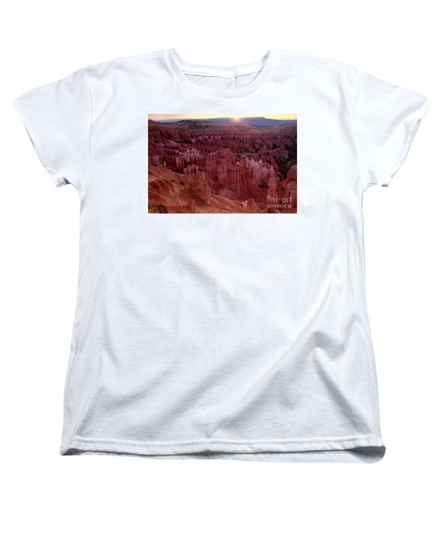 Sunrise Over The Hoodoos Bryce Canyon National Park Women's T-Shirt (Standard Cut) by Dave Welling