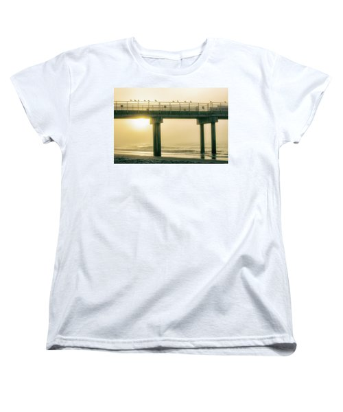 Women's T-Shirt (Standard Cut) featuring the photograph Sunrise Pier In Alabama  by John McGraw