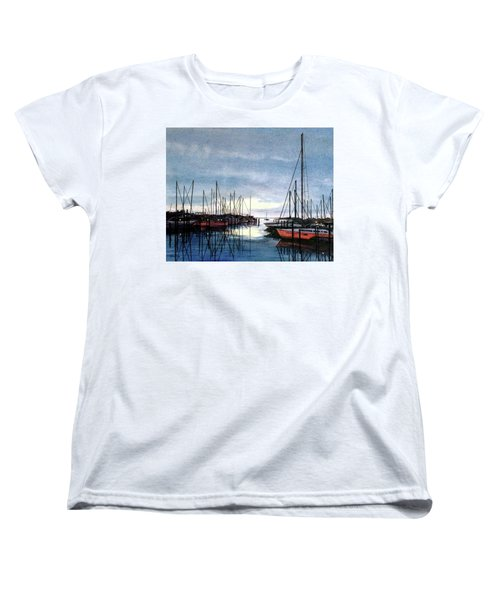 Women's T-Shirt (Standard Cut) featuring the painting Sunset At Apollo Beach by Janet King