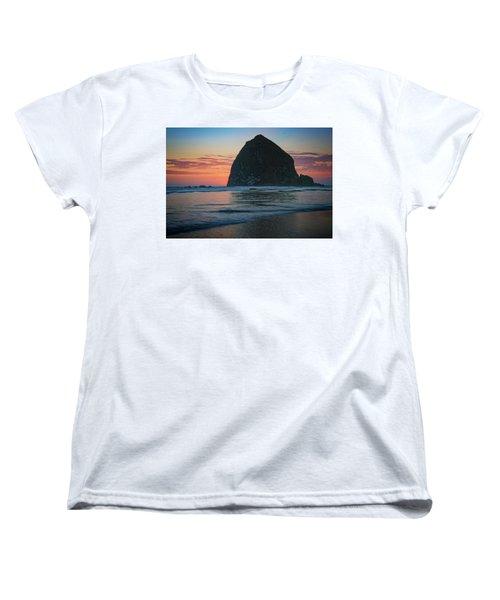 Women's T-Shirt (Standard Cut) featuring the photograph Sunset At Haystack Rock by Rick Berk
