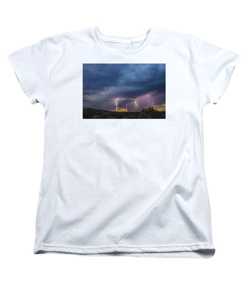 Women's T-Shirt (Standard Cut) featuring the tapestry - textile Sunset Lightning by Kathy Adams Clark