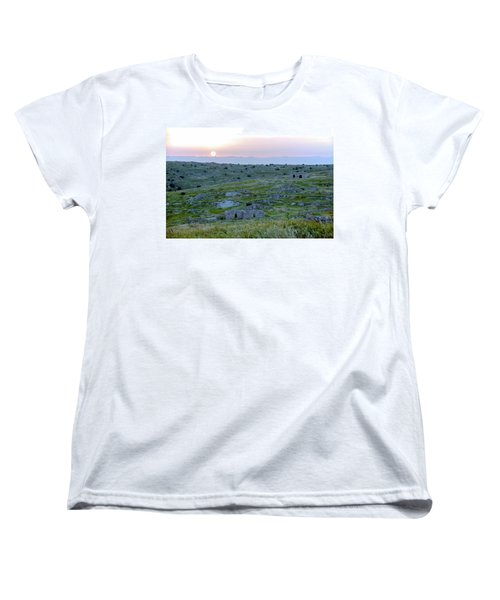 Sunset Over A 2000 Years Old Village Women's T-Shirt (Standard Cut) by Dubi Roman