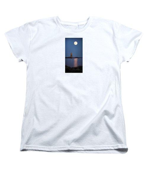 Super Moon Over Whaleback Lighthouse Women's T-Shirt (Standard Cut) by Betty Denise