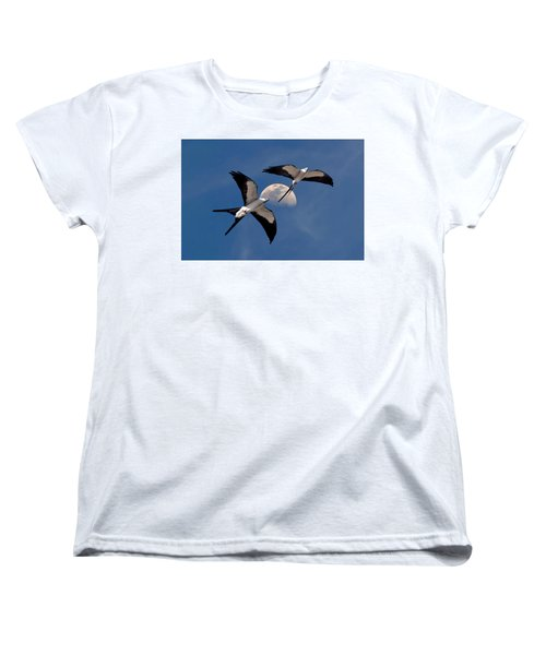 Swallow Tail Kites In Flight Under Moon Women's T-Shirt (Standard Cut) by Justin Kelefas