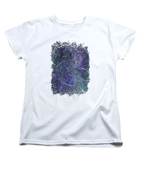 Swan Dance Berry Blues 3 Dimensional Women's T-Shirt (Standard Cut) by Di Designs