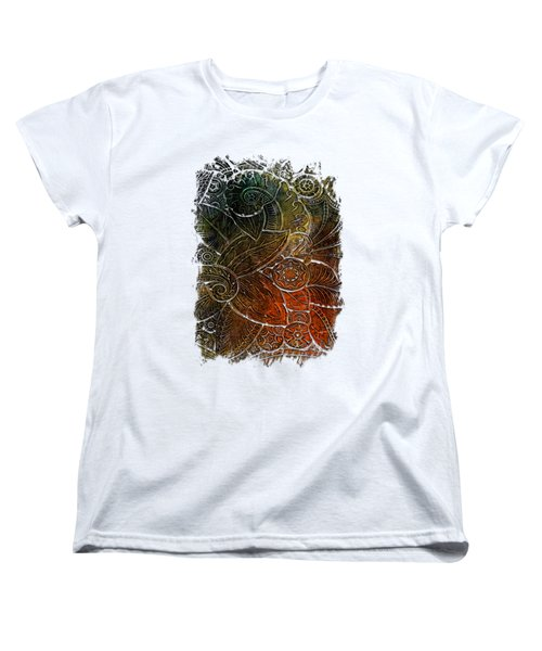 Swan Dance Earthy Rainbow 3 Dimensional Women's T-Shirt (Standard Cut) by Di Designs