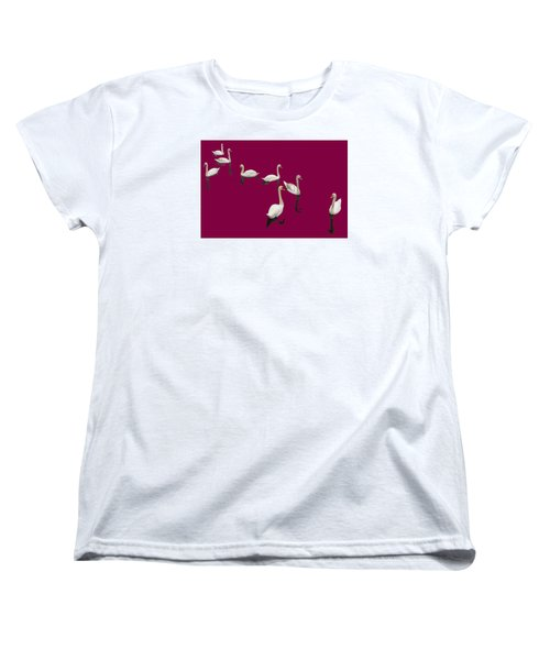 Women's T-Shirt (Standard Cut) featuring the photograph Swan Family On Burgandy by Constantine Gregory