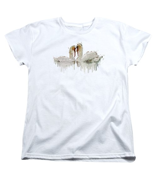 Swan Love Acrylic Painting Women's T-Shirt (Standard Cut) by Georgeta Blanaru