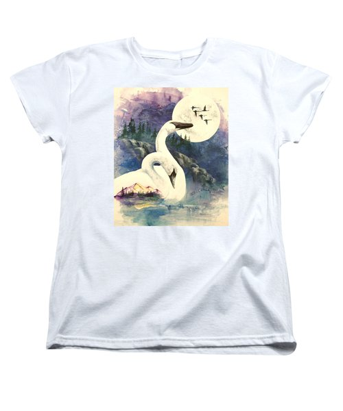 Women's T-Shirt (Standard Cut) featuring the painting Swan Song by Sherry Shipley
