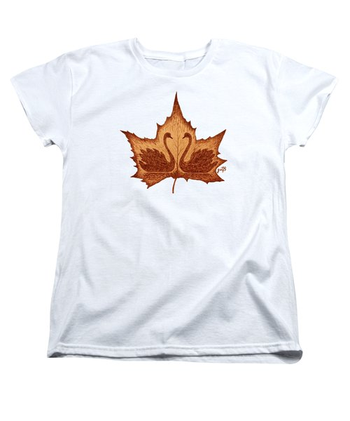 Swans Love On Maple Leaf Original Coffee Painting Women's T-Shirt (Standard Cut) by Georgeta Blanaru