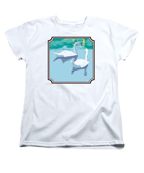 Swans On The Lake And Reflections Absract - Square Format Women's T-Shirt (Standard Cut) by Walt Curlee