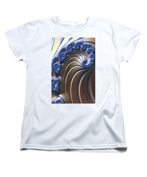 Swirly Blue Fractal Art Women's T-Shirt (Standard Cut) by Bonnie Bruno
