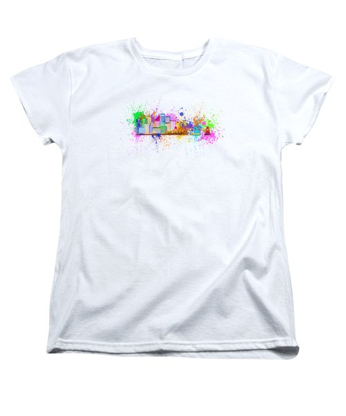 Sydney Harbor Skyline Paint Splatter Illustration Women's T-Shirt (Standard Cut) by Jit Lim