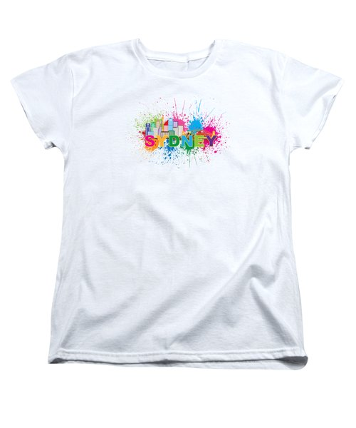Sydney Harbor Skyline Paint Splatter Text Illustration Women's T-Shirt (Standard Cut) by Jit Lim