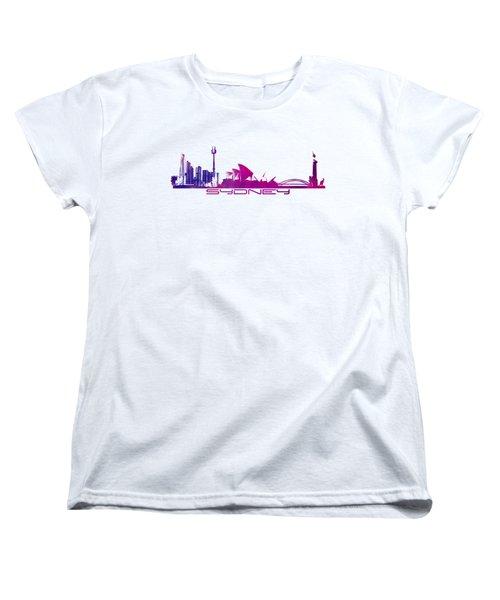 Sydney Skyline Purple Women's T-Shirt (Standard Cut) by Justyna JBJart
