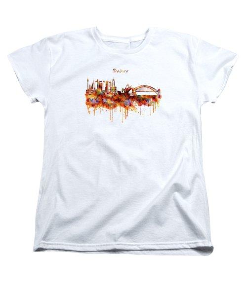 Sydney Watercolor Skyline Women's T-Shirt (Standard Cut) by Marian Voicu