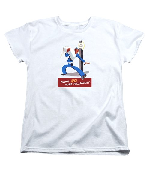 Women's T-Shirt (Standard Cut) featuring the painting Taking Vd Home Too Sailor by War Is Hell Store