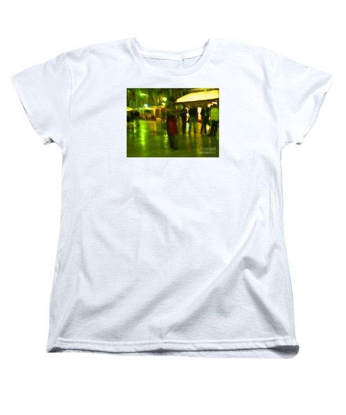 Women's T-Shirt (Standard Cut) featuring the mixed media Tango Dance In Rain by Haleh Mahbod