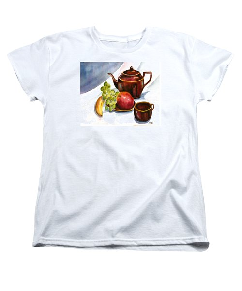 Tea And Fruit Women's T-Shirt (Standard Cut) by Clara Sue Beym