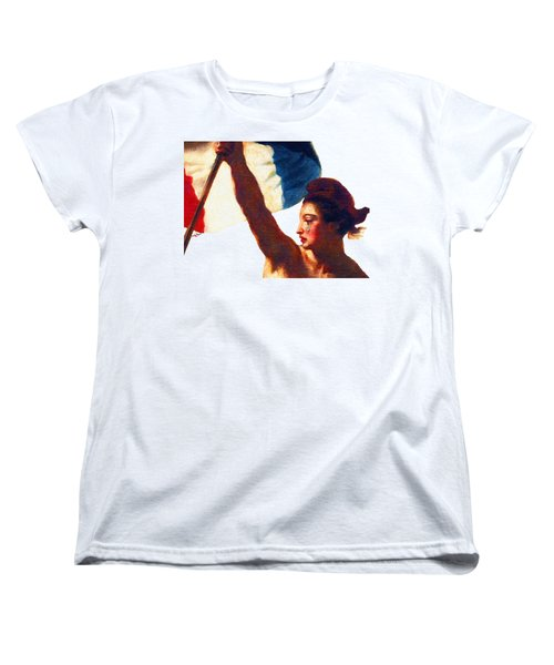 Women's T-Shirt (Standard Cut) featuring the painting Tee Shirt Vive La France Liberty Weeps by Tony Rubino