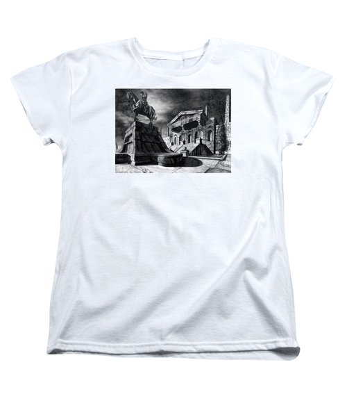Women's T-Shirt (Standard Cut) featuring the drawing Temple Of Perseus by Curtiss Shaffer