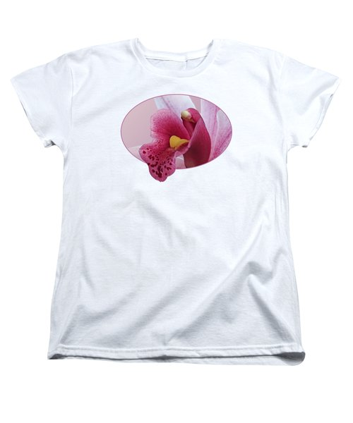 Temptation - Pink Cymbidium Orchid Women's T-Shirt (Standard Cut) by Gill Billington