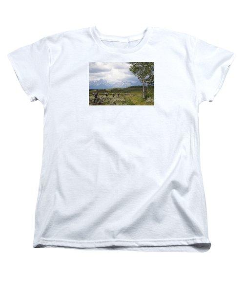 Teton Ranch Women's T-Shirt (Standard Cut) by Diane Bohna