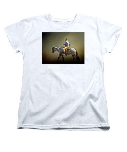 Women's T-Shirt (Standard Cut) featuring the photograph Texas Cowboy And His Horse by David and Carol Kelly