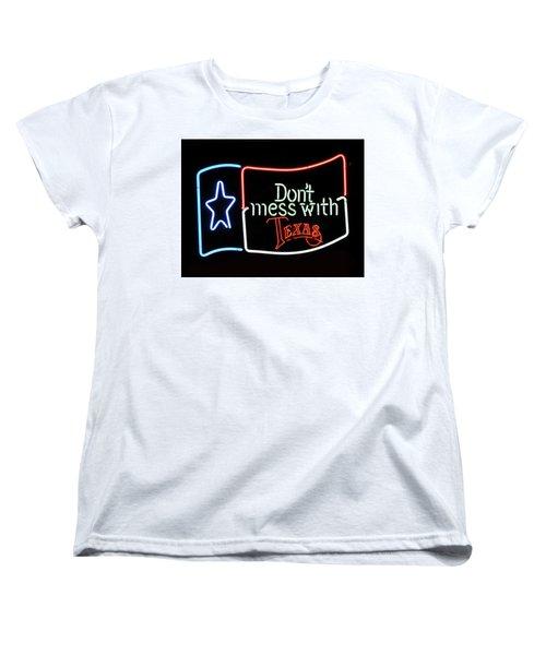 Women's T-Shirt (Standard Cut) featuring the photograph Texas Flag Saloon Neon by Daniel Hagerman