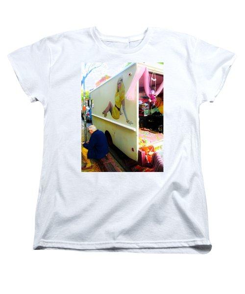 Texting Under Her Watchful Eye  Women's T-Shirt (Standard Cut) by Funkpix Photo Hunter