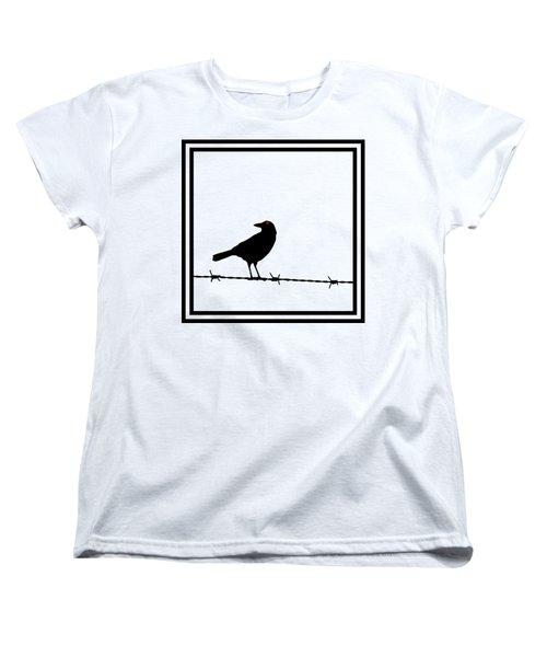 The Black Crow Knows T-shirt Women's T-Shirt (Standard Cut) by Edward Fielding