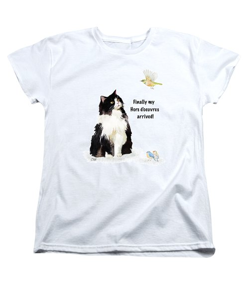 Women's T-Shirt (Standard Cut) featuring the painting The Cat's Hors D'oeuvres by Colleen Taylor