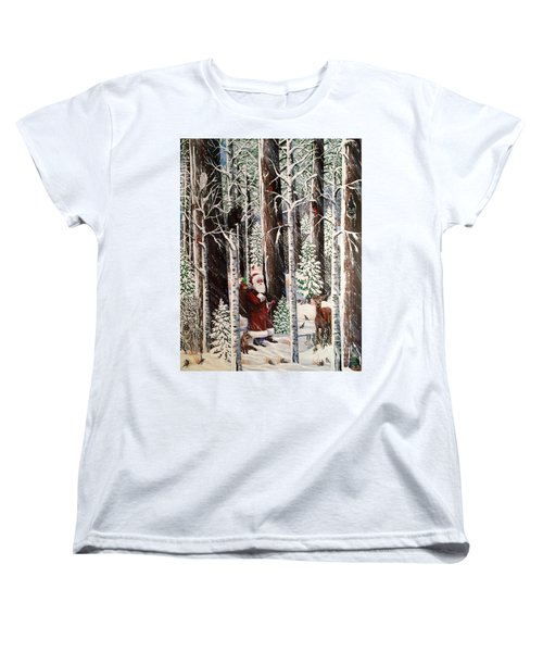 The Christmas Forest Visitor Women's T-Shirt (Standard Cut) by Jennifer Lake