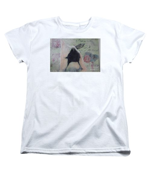 Women's T-Shirt (Standard Cut) featuring the painting The Crow Called The Raven Black by Kim Nelson