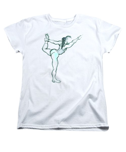 Women's T-Shirt (Standard Cut) featuring the mixed media The Dancer - Yoga Pose by Carolyn Weltman
